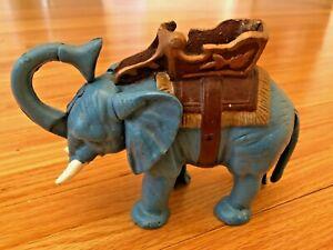 VINTAGE CAST IRON MECHANICAL BANK CIRCUS ELEPHANT COIN METAL  PIGGIE BANK BLUE