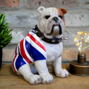 Sitting British Bulldog Ornament Union Jack Flag Spiked Collar Dog Puppy Statue