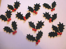 FELT green holly button berries 21 leaves 20 buttons die cut christmas holly no2