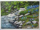 ACEO Original Acrylic Painting Landscape Blue Flowers Creek J. Hutson USA Artist
