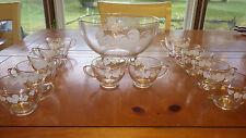 Vintage Punch Bowl Set Clear Glass White Leaf Design Rimmed in Gold 13 pc set