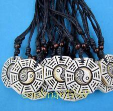 6pcs Taoist Tai Chi Yin Yang Bagua pendant necklace rope W080
