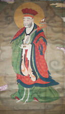 Antique 15th C. Chinese Hanging Scroll Painting Watercolor Immortal Taoist God