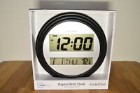 NIB Mainstays Digital Wall or Tabletop Clock with Indoor Temperature, Black