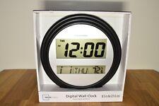 NIB Digital Wall or Tabletop Clock with Indoor Temperature, Black