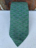 "HERMES PARIS 7576 SA ""Made in France"" Green with Blue Floral 100% Silk Tie"