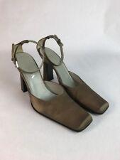 PRADA Brown Satin Ankle Strap Mary Jane Shoes Heels EU 39 US 8 Structured Heel
