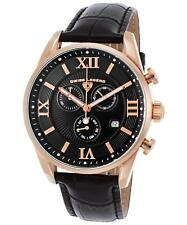 USED Swiss Legend Rose Gold Case Black Leather Strap Men's Quartz Watch 22011-RG