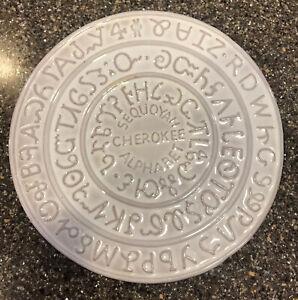Vintage FRANKOMA Pottery Trivet 7TR Sequoyah Cherokee Alphabet Off White Glaze