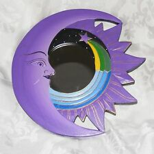 Moon Mirror Purple Celestial Moon Wall Mirror Carved Lightweight Wood 12""