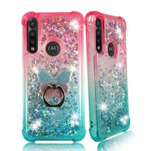 For Moto G Power (2020) Liquid Glitter Bling TPU Bumper Case Cover w Phone Ring
