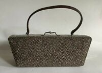 ALDO Brown Herringbone Tweed Handbag  Moc Croc Handle Detachable Shoulder Strap