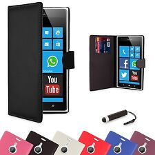 NEW PU LEATHER WALLET CASE COVER FOR NOKIA LUMIA 520 + SCREEN PROTECTOR