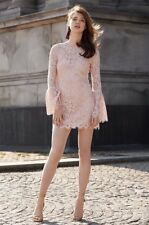 NWT RACHEL ZOE Sz 10 BELL SLEEVE LACE DRESS CARTER / ISLA BLUSH $395