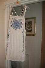 Topshop white strappy long length tunic top size 8