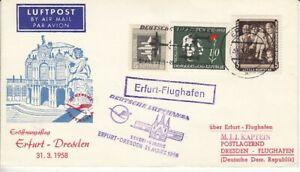 DDR  Erstflug   Erfurt - Dresden  1958