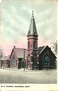 M.E. CHURCH, ANACONDA, MONTANA, 1910 VINTAGE POSTCARD