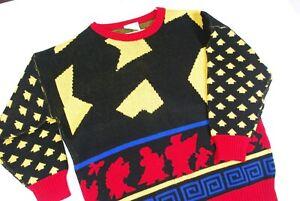 90s Sweater Women 1990s 1980s Sweaters Medium Geometric Print Black White Grey Gray Abstract Pattern Monochromatic Pullover