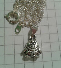 """TIBETAN SILVER PENDANT """"VERY TINY PENGUIN"""" ON 18"""" or20""""NECKLACE CHAIN BOXED"""