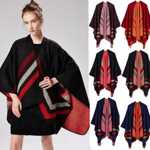 Luxury Celeb Cashmere Like Poncho Blanket Wrap Shawl Cape Scarf Stripes Stylish
