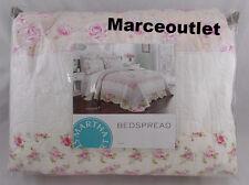 Martha Stewart Emmeline FULL Embroidered Bedspread White / Pink