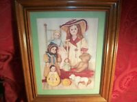 Wall Hanging Picture Pat Young Dolls Teddy Bear Wagon Rocking Chair Framed Print