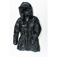 ADD Down Women's Navy Blue Glossy Nylon Puffer Quilted Hooded Jacket Coat 6