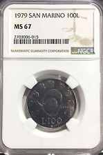 1979 MS67 San Marino 100 Lire Coin NGC KM#95 only 665K Minted! Top Pop