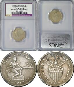 1918-S US/Philippines 5 Centavos MULE ~ NGC/NCS VF Details ~ Allen#4.08b ~ 001