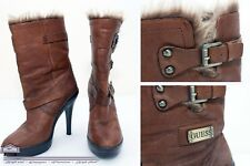 Guess Ladies Leather Brown Boots Platform Heels Faux Fur Size 6M/36.5/3.5 UK
