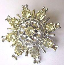 broche bijou vintage décor étoilé cristaux diamant couleur argent  373