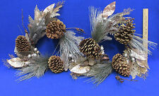 Pine Cone Wreath Chocolate Brown Gold & Silver Tone Glitter Sparkle Lot of 2
