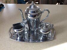 VINTAGE CROMWELL SILVER MFG CORP. CHROMIUM TEA SET; SUGAR; CREAMER;TEA POT; TRAY