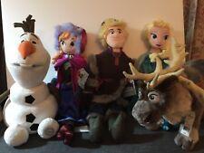 "Disney Store Authentic Frozen Elsa Anna Olaf Sven Kristoff 20"" Plush Dolls Set"