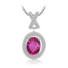 2.6ct Pink Sapphire & Cubic Zirconia Oval Necklace Pendant 925 Solid Sterling
