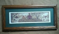 Country School House Framed Signed Print Wemerta w cow & children