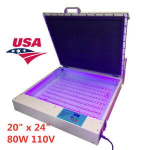 "US-20"" x 24"" 80W Vacuum LED UV Exposure Unit Precise Silk Screen Printing"