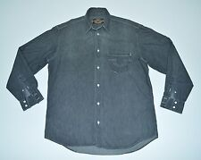 Harley Davidson Men`s Denim Long Sleeve Polo Shirt size L Cotton Grey Italy