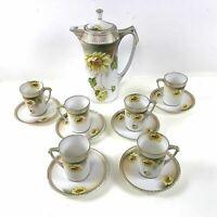 13 Piece Rs Prussia Porcelain Chocolate Coffee Set Sunflower Jeweled
