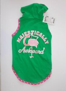 Vibrant Dog Green And Pink Flamingo Hooded Shirt Fits Beagle Standard Poodle Etc