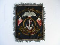 WWII US Navy Souvenir of Egypt Embroidery Eagle Flags More Theater Made 1944 WW2
