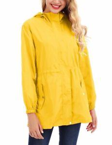 Women Wind Coat Solid Color Long Sleeve Hooded Collar Medium Length Raincoat #7