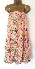 Women's Billabong NEW Cream & Floral SILK BUBBLE Hem Sleeveless Dress Size 4 / L