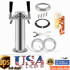 """Double 2 Tap Stainless Steel Draft Beer Tower Kegerator Chrome Faucets 3""""  76mm"""