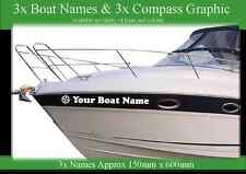 3x BOAT NAMES COMPASS GRAPHIC MARINE VINYL CAR VAN  MOTORHOME DECAL STICKERS SET
