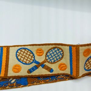 "Vintage Tennis Trim Yard Brown Orange Blue 1/2"" Wide Embroidered Cottage Core"