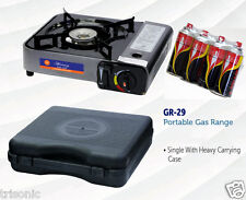 New Portable Single Burner Butane Gas Camping Stove W / Hard Case Tabletop Stove