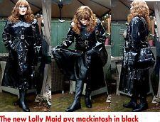 heavy squeaky lined  shiny black wet look thick pvc vinyl raincoat TV fitting 48