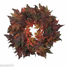 "30"" Maple Leaf Wreath Fall Home Decor Nearly Natural"