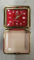 VTG MCM 1960s Bulova Lite Travel Alarm Clock Watch Red Leather Case Retro Japan